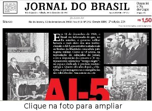 Jornal do Brasil com o tempo no dia do AI-5
